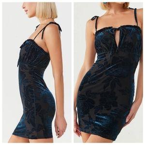 Teal Blue Velvet Floral LBD Mini Dress